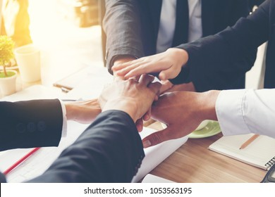 businessman and businesswoman or their customers fist bump after pleasant talk and effective negotiation or business marketing plan, good relationships,Handshake Gesturing People Connection Deal