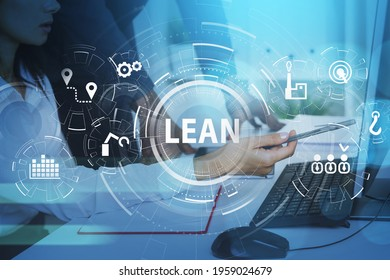 Businessman and businesswoman working together to discover lean quality control and manufacturing process management concept in business, six sigma. virtual interface with cogwheels