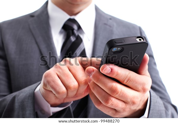 Businessman calling by phone. Isolated on white background.