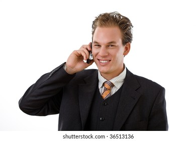 Businessman calling on mobile phone, white background.