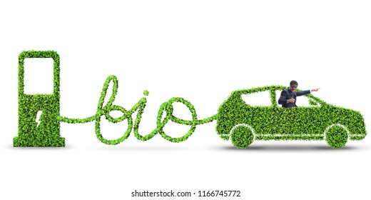 Businessman with car powered with biofuel