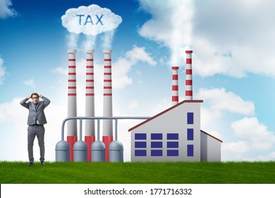 Businessman in carbon tax concept