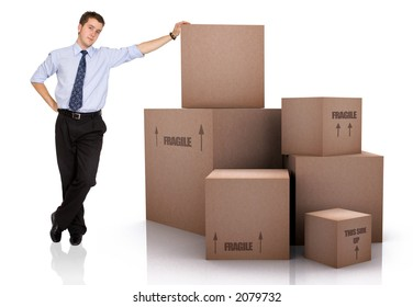 Businessman with Cardboard Boxes Over a White Background