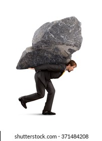 Businessman carry the rock on his back
