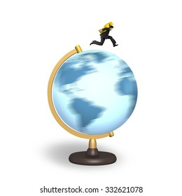 Businessman carrying gold dollar sign running on rotating globe, isolated on white background.