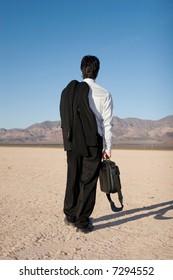Businessman carrying his laptop case