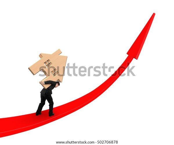 Businessman carrying wooden house on red arrow up graph, isolated on white background.
