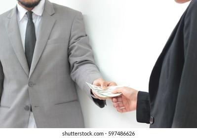 businessman cash money to partners on white background