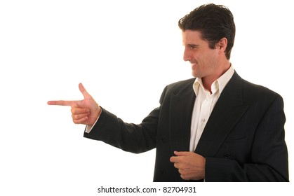 A businessman in casual dress gives a confident sign of approval to a co-worker on his job.