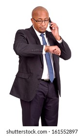 businessman with cellphone isolated in white background