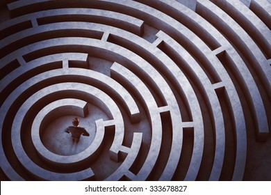 Businessman at the center of a maze