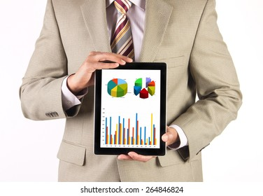 Businessman and CEO presenting and analyzing corporate financial data using a tablet computer