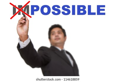 Businessman changing word impossible into possible