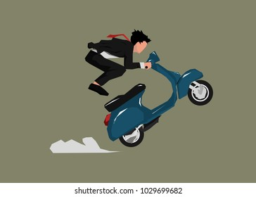 Businessman chasing something with his motorcyles