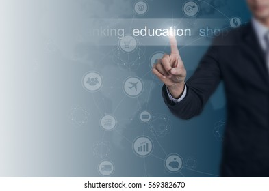 Businessman choose education icon with space for background, wireless network concept.