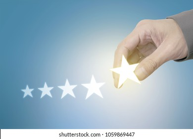 Businessman Choose Five Star Symbol to Increase Rating of Company, Excellence Concept.