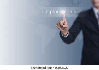 Businessman choose Past, present, future with space for background.