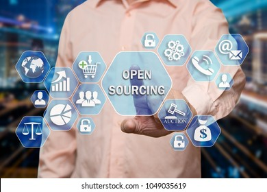 The businessman chooses the OPEN SOURCING on the virtual screen in the business network connection.