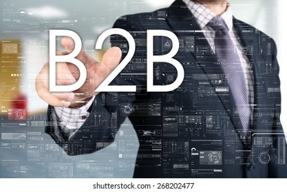 the businessman is choosing B2B from touch screen