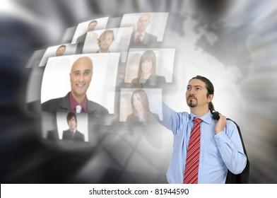 Businessman choosing employees with modern technology