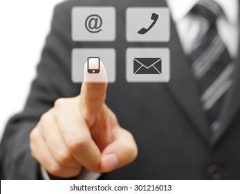 Businessman choosing virtual contact icon