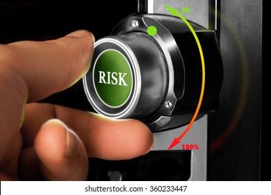 businessman choosing zero percent of risk on dashboard. business concept