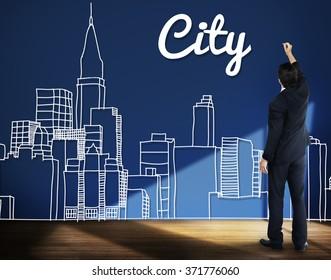 Businessman City Drawing Design Cityscape Concept