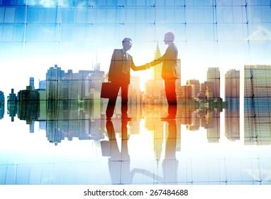 Businessman Cityscape Agreement Handshaking Deal Collaboration Concept