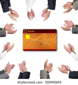 Businessman clapping to credit card