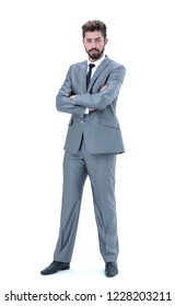 businessman clasped his hands isolated on white background