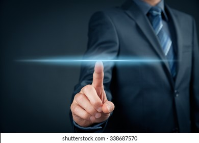 Businessman click on virtual touchscreen. Futuristic business and IT presentation background.
