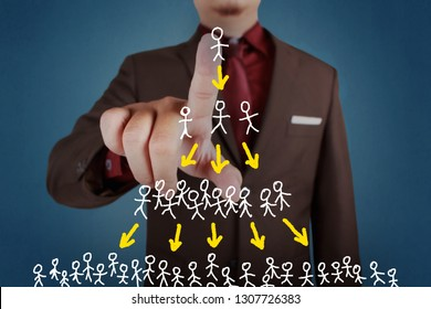 Businessman click pyramide scheme diagram, social media multi level marketing in business concept
