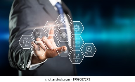 businessman clicking a hexagon tile with name ROBO ADVISOR in front of blue background