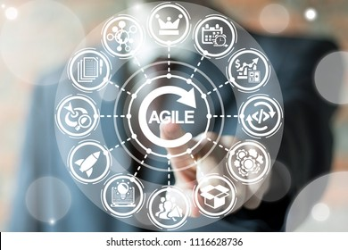 Businessman clicks a agile word with circle arrow surrounded by specific icons. Agile Life Cycle Business concept. Agility Development.