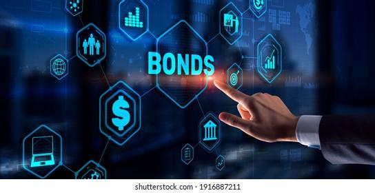 Businessman clicks a bonds virtual screen. Bond Finance Banking Technology concept. Trade Market Network