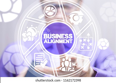 Businessman clicks a business alignment words button surrounded by specific icons. Business Alignment concept.