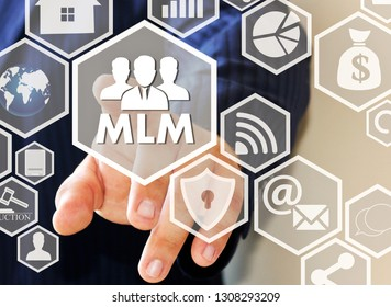 The businessman clicks the button MLM on the touch screen . The concept of multi-level marketing.