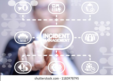 Businessman clicks a incident management words button on a virtual structural panel. Incident Management Business Finance Technology concept.