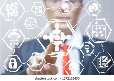 Businessman clicks a man group with round table button on a virtual panel. Business Partnership Meeting Work Brainstorming Discussion concept.