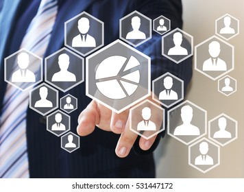 The businessman clicks on the icon, chart, business diagram, web network .The concept of data collection.