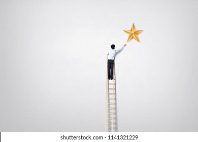 businessman climb on ladder to reach star goal