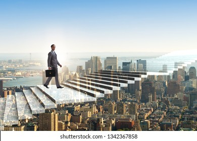 Businessman climbing career ladder over city