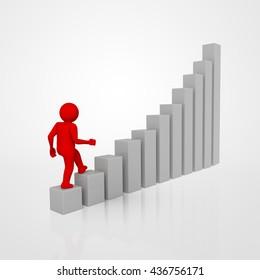 businessman climbing a graph column . 3D rendering.
