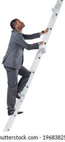 Businessman climbing up ladder on white background