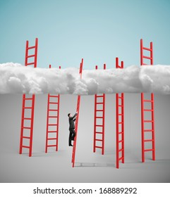 businessman climbing on red ledder to cloud