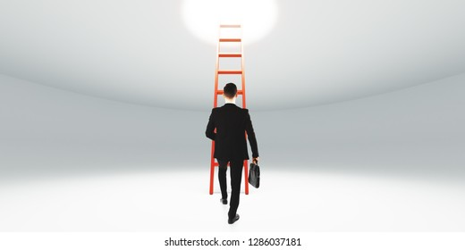 Businessman climbing stairs. Ambitions and success concept