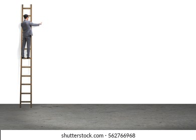 Businessman climbing stairs isolated on white