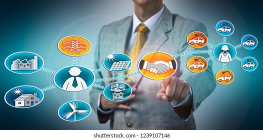 Businessman closing partnership deal between a renewable energy utility corporation and a car fleet company. Industry concept for electric vehicle, EV, charging infrastructure, green electricity.