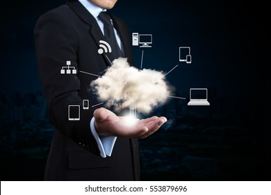 Businessman with a cloud Computing.