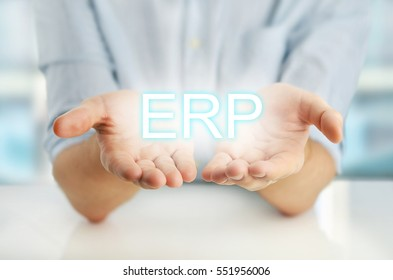 Businessman with cloud with ERP, Enterprise resource planning